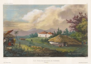 Vietnam. Tourane (Da Nang). View of the environs with the artist sketching in the foreground. After Theodore-Auguste Fisquet, artist on the voyage of La Bonite 1836-7.