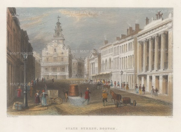 "Bartlett: Boston, Massachusetts. 1838. A hand coloured original antique steel engraving. 8"" x 6"". [USAp4834]"