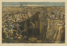 "Illustrated London News: Diamond Mining. 1872. A hand coloured original antique wood engraving.19"" x 14"". [AFRp1315]"