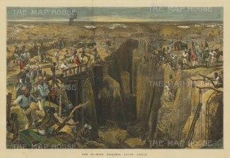 "Illustrated London News: Diamond Mining. 1872. A hand coloured original antique wood engraving.19"" x 14"". [AFRp1315]"