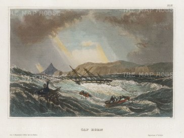 "Meyer: Cap Horn, Chile. 1836. A hand coloured original antique steel engraving. 7"" x 5"". [SAMp1307]"