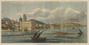 "Illustrated London News: Asuncion, Paraguay. 1870. A hand coloured original antique wood engraving. 14"" x 7"". [SAMp1364]"