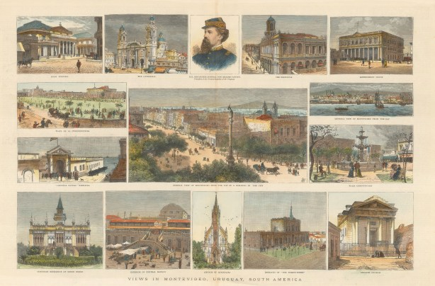 "Graphic Magazine: Montevideo, Uruguay. 1884. A hand coloured original antique wood engraving. 21"" x 14"". [SAMp1388]"