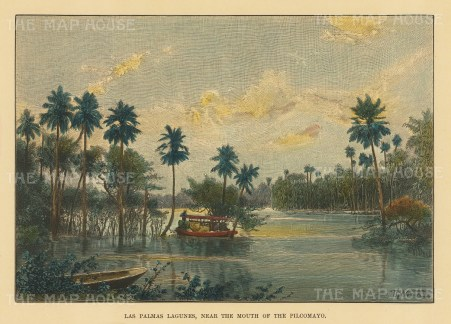 "Reclus: Las Palmas Lagunes, Paraguay. 1894. A hand coloured original antique wood engraving. 7"" x 5"". [SAMp603]"