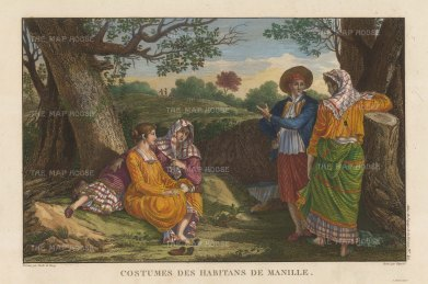 Manila. Costumes of the inhabitants after Gaspard Duchy de Vancy, artist on the La Perouse Expedition 1785-9, which later disappeared without a trace.