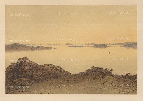 Mariana Islands. View of an inlet. Drawn from life during Hildebrandt's 'round-the-world' voyage.