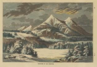 "Collins: San Francisco Peaks, Arizona. c1870. A hand coloured original antique wood engraving. 10"" x 7"". [USAp4845]"