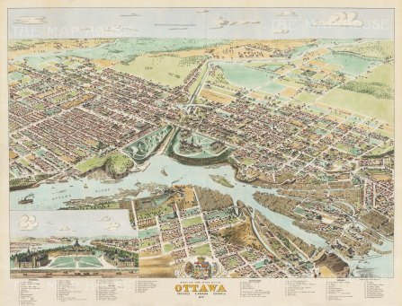 Ottowa: Bird's eye view from Rideau River to Duke Street and from Cathcart Square to Queen Street. With key.
