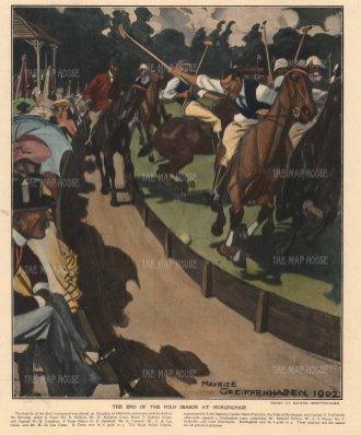 Hurlingham: The end of the polo season. Royal Horse Guards vs Hurlingham by the influential illustrator Maurice Geiffenhagen, RA.