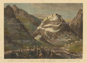 Khyber Pass: Fort of Ali Musjid captured by Lt. Gen. Sir Samuel Browne. Second Anglo-Afghanistan War.