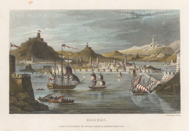 "Kelly: Algiers, Algeria. c1840. A hand coloured original antique steel engraving. 8"" x 6"". [AFRp1274]"