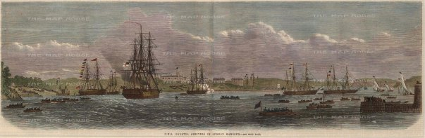 HMS Galatea arriving in Sydney Harbour.