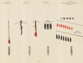 Chinese Pictorial Signs: Decorative signs for Hair Ornaments, Cross Bows, Horse Hair, and Peacocks' Feathers.