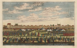 Canton: Banquet of the Governor General (Viceroy) outside the city walls. With key in French and Dutch.
