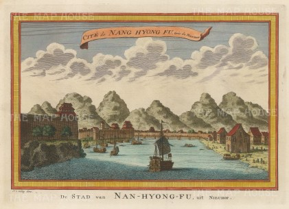"van der Schley: Nang Hyong Fu. c1755. A hand coloured original antique copper engraving. 11"" x 9"". [CHNp958]"