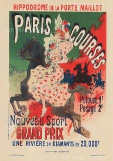 Longchamp Racecourse: Advertisement for the prestigious Prix de la Porte Maillot.