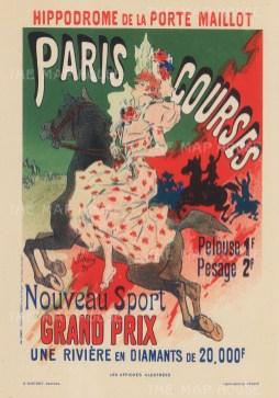 Longchamp Racecourse. Advertisement for the prestigious Prix de la Porte Maillot.