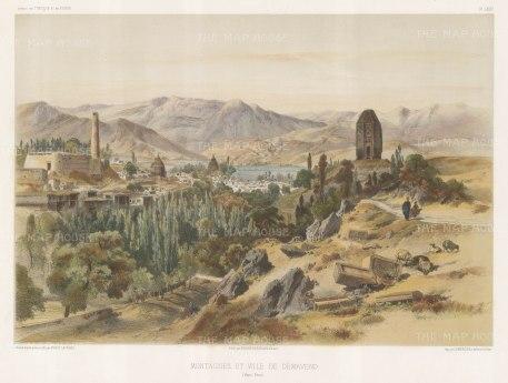 Iran: Damavand with Mount Damavand. After Jules Laurens.