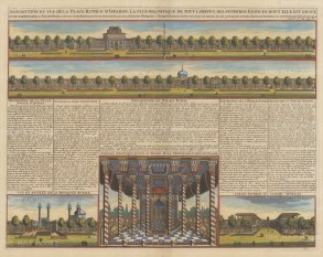 Iran: Isfahan. Double panorama of the Royal Palace at Isfahan and views of the Royal Mosque, Pavilion and Bazaar with text in French.