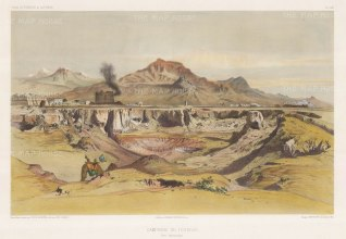 Iran: Tehran. View of the environs and the Alborz mountains. After Jules Laurens.