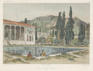 Iran: Ashref. View of the ruins of the palace and gardens. After Jules Laurens.