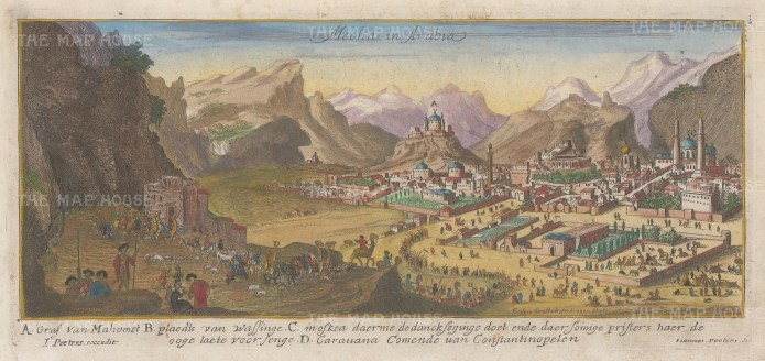 Mecca: Showing a Hajj camel caravan from Constantinople with key in Dutch.