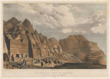 Petra: View from the North East of the four Royal Tombs: The Urn, The Silk, The Corinthian and The Palace.