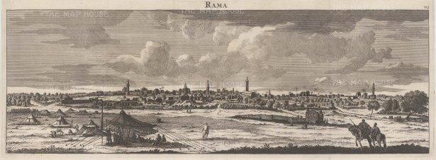 "Le Bruyn: Ramallah. 1703. An original antique copper engraving. 24"" x 9"". [MEASTp627]"