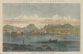 "Illustrated London News: Ajaccio, Corsica. 1864. A hand coloured original antique wood engraving. 7"" x 4"". [MEDp323]"