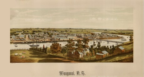 Wanganui. Panoramic view over the Wanganui river towards the town. Edward Wakefield's New Zealand Land Company established numerous settlements that became principal towns.