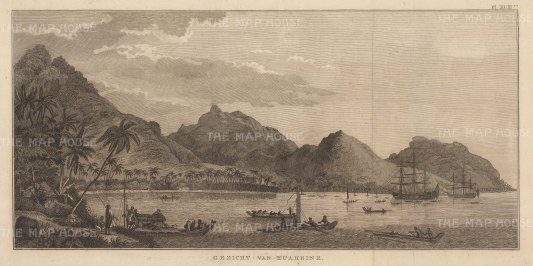 Huaheine (Huahine Nui): View of the harbour with the Discovery and Resolution at anchor. After John Webber, artist on the Third Voyage. Dutch edition.