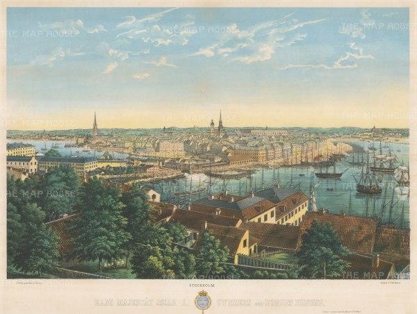 """Mester: Stockholm, Sweden. c1860. An original colour antique lithograph. 25"""" x 19"""". [SCANp234]"""