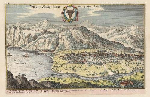 "Merian: Altdorf, Switzerland. 1649. A hand coloured original antique copper engraving. 13"" x 9"". [SWIp728]"