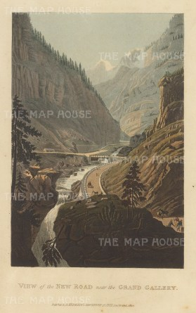View of the new road above the Doveria and cut through the granite cliffs. Gondo Gallery was completed in 1805 by the Kingdom of Italy.