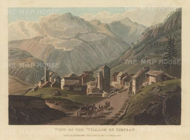 "Ackermann: Simplon, Switzerland. 1820. An original colour antique aquatint. 9"" x 6"". [SWIp757]"
