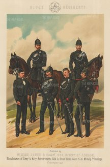 Rifle Regiments: King's Royal, Scottish, Irish and Rifle Brigade.