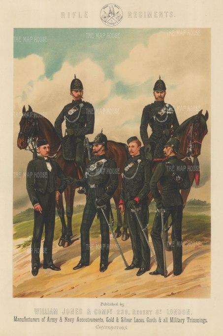 Rifle Regiments: King's Royal, Scottish, Irish and Rifle Brigade.
