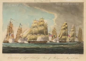"Ralfe: Commencement of Captain Schonberg's action off Madagascar May 1811. 1820. An original antique aquatint. 9"" x 6"". [NAVp52]"