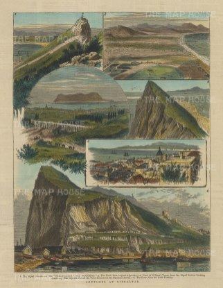 "Graphic Magazine: Gibraltar. 1880. A hand coloured original antique wood engraving. 9"" x 13"". [SPp1035]"