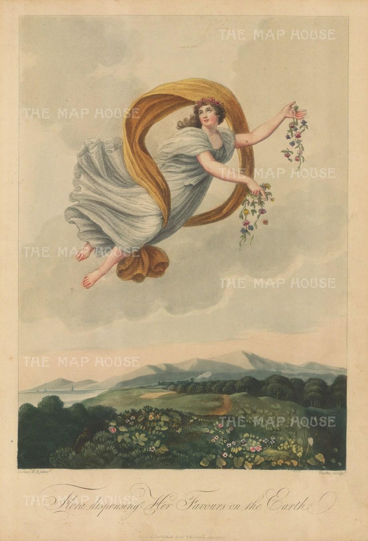 "Thornton: Flora Dispensing Her Favours on the Earth. 1812. An original colour antique mixed-method engraving. 9"" x 13"". [FLORAp3136]"