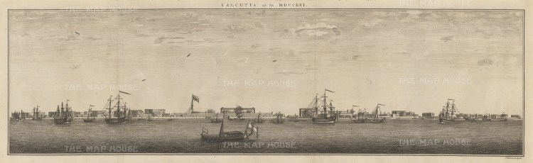 "Kitchin: Kolkata. 1756. An original antique copper engraving. 29"" x 9"". [INDp1284]"