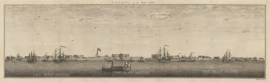 Calcutta in MDCCLV: Scarce, contemporaneous panorama of the port of Kolkata with East India Company ships, and the Union Jack over Fort William.