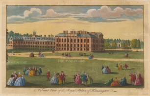 "Maitland: Kensington Palace. 1756. A hand coloured original antique copper engraving. 13"" x 8"". [LDNp10528]"