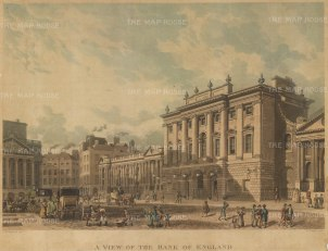 Bank of England: View of the front elevation and Threadneedle Street.
