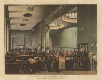 "Ackermann: Lloyd's Subscription Room. 1800. An original colour antique aquatint. 11"" x 9"". [LDNp8791]"