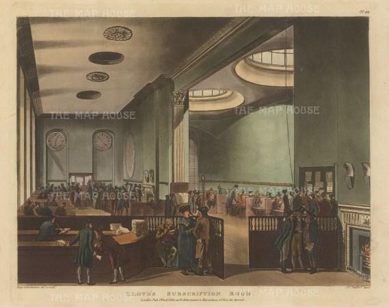"Ackermann: Lloyd's Subscription Room. 1800. An original colour antique aquatint. 11"" x 9"". [LDNp8791]"