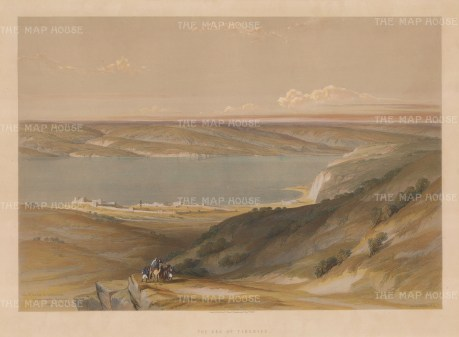 Sea of Galilee also known as Lake Tiberias. Panoramic view showing the sea and surrounding mountains.