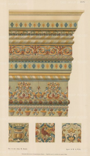 Russian Imperial Collection: Painted interior capital with three details.