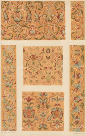 Russian Imperial Collection: Six coordinating painted interior patterns.