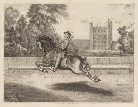 Dressage. Capriolles sur les Voltes a Main Gauche. With Bolsover Castle in the background.